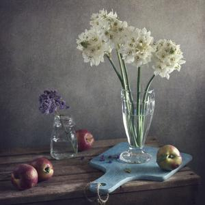 Still Life with White and Purple Flowers and Peach by Copyright Anna Nemoy(Xaomena)