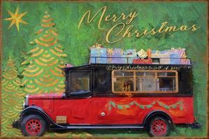 Red Antique Christmas Car by Cora Niele