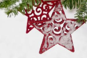 Red Christmas Star with Snow by Cora Niele