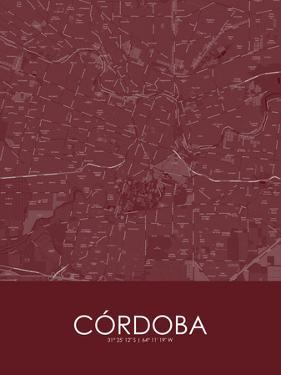 Cordoba, Argentina Red Map