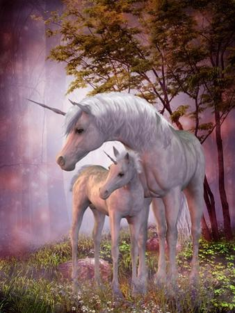 Unicorn Mare and Foal by Corey Ford