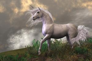 White Unicorn Stallion by Corey Ford