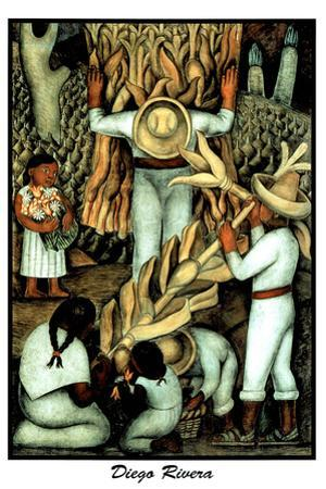 Corn Harvest Diego Rivera  Plastic Sign