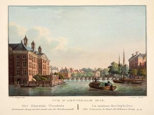 Vue D'Amsterdam No.38. Het Diaconie Weeshuis De Blaauw-Brug En Het Einde Van De Erwtenmarkt. La Mai by Cornelis de Kruyff