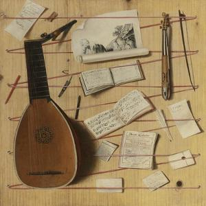 Trompe L'Oeil Still Life with a Lute, Rebec and Music Sheets by Cornelis Norbertus Gijsbrechts