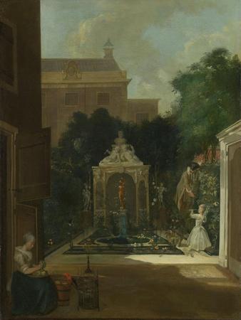 An Amsterdam Canal House Garden, Cornelis Troost