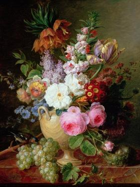 Still Life with Flowers and Grapes by Cornelis van Spaendonck