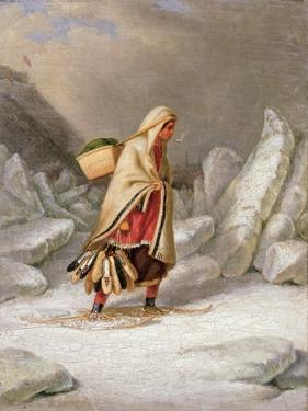 An Indian Woman Wearing Snowshoes by Cornelius Krieghoff