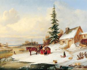 Habitants by a Frozen River by Cornelius Krieghoff