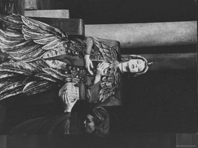 """Actress Vivien Leigh as Queen Cleopatra, on Her Throne in Stately Robes in """"Caesar and Cleopatra"""" by Cornell Capa"""