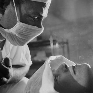 Anesthesiologist Dr. Vincent Collins Watch over Patient Frances Ashplant, After Spinal Anesthesia by Cornell Capa