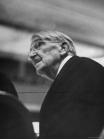 Dr. John Dewey Listening to Speaker at His 90th Birthday Celebration by Cornell Capa