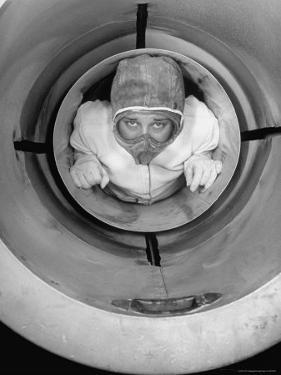 Human Cannonball Egle Zacchini, Inside Cannon Just Before Her Launching During Circus Act by Cornell Capa