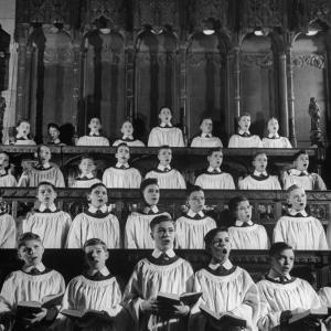 Members of the Boys Choir at St. John the Divine Episcopal Church Singing During Services by Cornell Capa