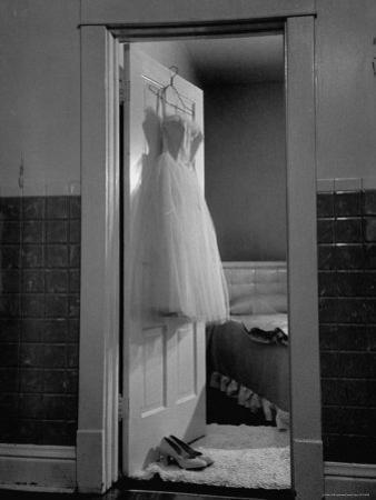 New Formal Dress and Shoes For 15 Year Old Girl, Going to Her First Formal Dance at Naval Armory by Cornell Capa