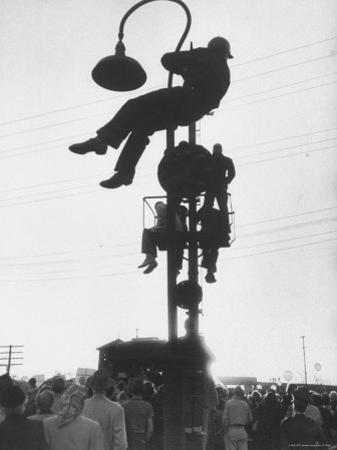 Perched on a Railroad Signal Youths Waiting to See a Glimpse of Adlai E. Stevenson by Cornell Capa