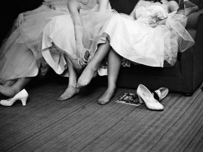 Teenage Girls Resting Feet at First Formal Dance at the Naval Armory by Cornell Capa