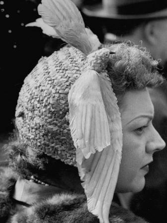 Woman Wearing Bird Decoration in Hair at Dwight D. Eisenhower's Inauguration by Cornell Capa