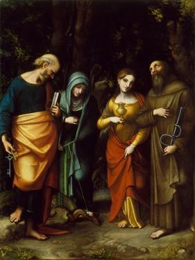 Saints Peter, Martha, Mary Magdalen, and Leonard, c.1515-7 by Correggio