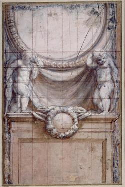 Two Putti Supporting a Blank Medallion by Correggio