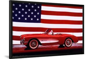Corvette, 1957 with U.S. Flag