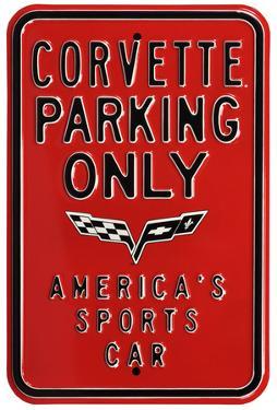 Corvette Parking Only Steel Sign