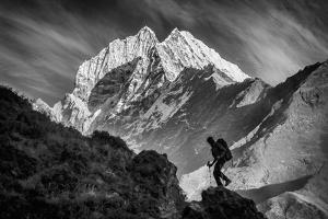 Climbing in the Late Day Sun in the Khumbu Valley in the Everest Region of Nepal by Cory Richards