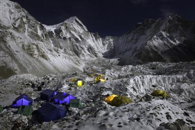 Everest's Base Camp and the Khumbu Glacier at Night by Cory Richards