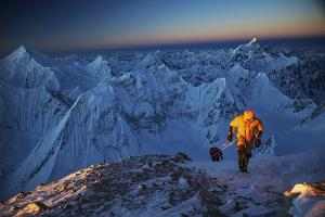 Mountaineers On 26,360-foot Gasherbrum II At Sunset by Cory Richards
