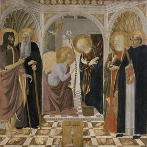 L'Annonciation et quatre saints. Avec saint Jean-Baptiste, saint Antoine, sainte Catherine et by Cosimo Rosselli