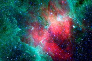 Cosmic Epic Unfolds Eagle Nebula in Infrared Space Plastic Sign