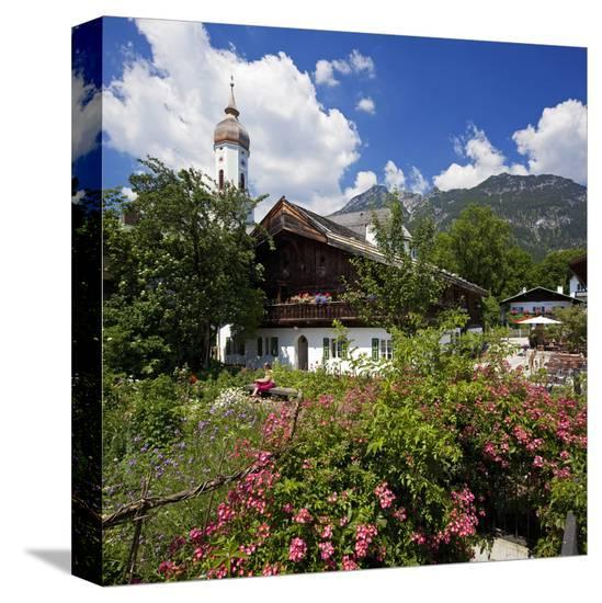 Cottage Garden at Polznkaspar House with Parish Church of St. Martin--Stretched Canvas Print