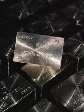Close-up of Platinum Ingots Bearing the Made in the Ussr Symbol by Cotton Coulson