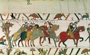 Count Guy Leads Him to Beurain Where He Keeps Him, Detail from the Bayeux Tapestry, Before 1082