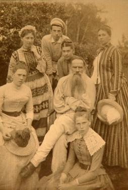 The Author Leo Tolstoy with His Family in Yasnaya Polyana by Count Semyon Semyonovich Abamelek-Lazarev