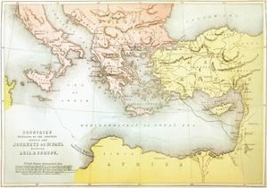 Countries Travelled by the Apostles and Showing the Journeys of St. Paul Between Asia and Europe