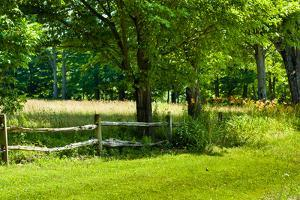 Country Meadow Wooden Fence in Berkshires Photo Poster Print