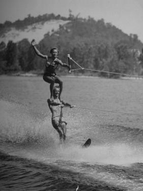 Couple Competing in the National Water Skiing Championship Tournament