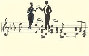 Couple Toasting on Musical Staff