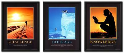 Courage, Challenge, and Knowledge Framed Art Print Set