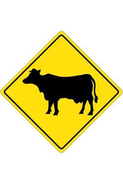 Cow Crossing Plastic Sign