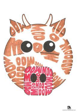 Cow Moo Text Poster