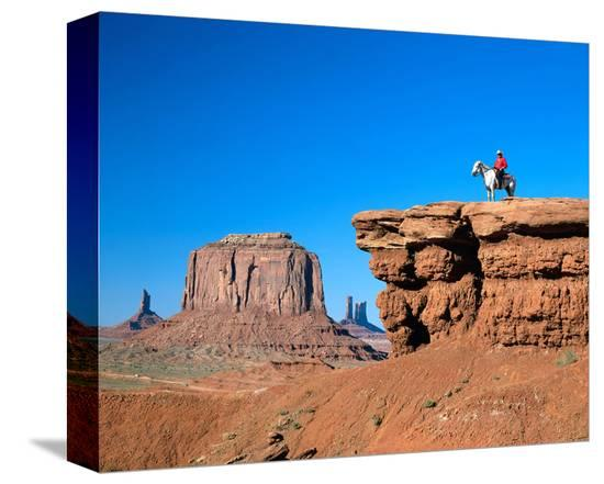 Cowboy at Monument Valley, Navajo Tribal Park, Arizona, USA--Stretched Canvas Print