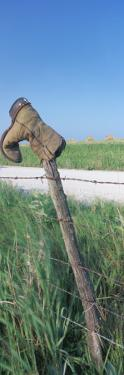 Cowboy Boot on a Fence, Pottawatomie County, Kansas, USA