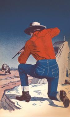 Cowboy Shooting Charging Bear