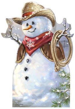 Cowboy Snowman - Dona Gelsinger Art Lifesize Standup