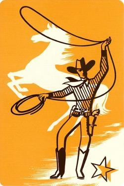 Cowboy with Lasso and White Horse