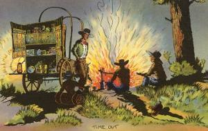 Cowboys at Campfire by Chuckwagon