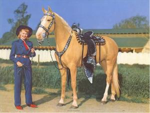 Cowgirl in Blue with Palomino
