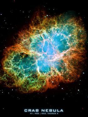 Crab Nebula Text Space Photo Art Poster Print